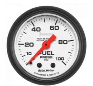 "Auto Meter - 2-1/16"" FUEL PRESSURE, 0-100 PSI, MECHANICAL, PHANTOM"